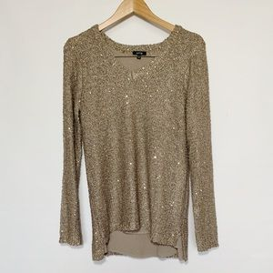 Apt 9 Gold Woven Sweater with Sequins